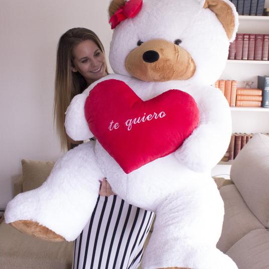 Peluche Urso Gigante com Laço e Coração Personalizável com Foto ou Texto 135/165cm